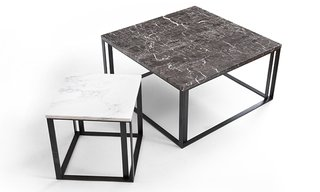 The Iota side tables are topped with black or white marble.