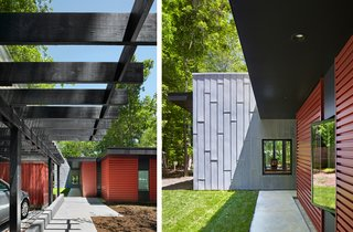 The horizontal orientation of the cement board, painted black, creates a line of vision that leads to the forest, while its deep overhangs help shield the sun. A small lawn, gravel, and native grass weave the wooded setting in the residence's landscape design.