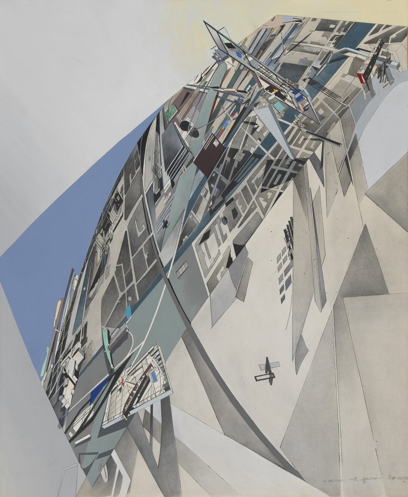 Zaha Hadid, The World (89 Degrees), 1984. Aerial view; compilation of projects to date.  Photo 2 of 8 in Early Drawings by Famous Architects