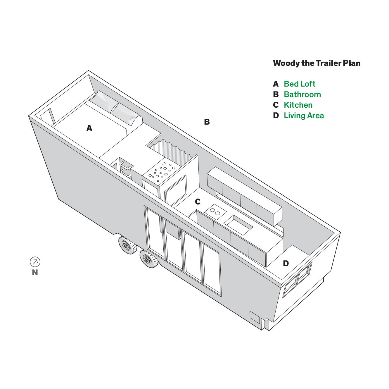 Woody camper trailer floorplan