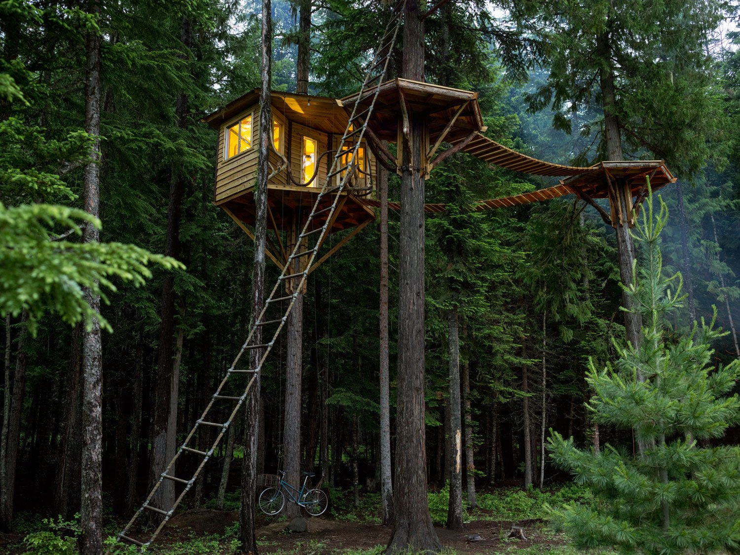 "Exterior and Treehouse Building Type Ethan Schussler built his first tree house at 12 years old. His today, in Sandpoint, Idaho, sits 30 feet above the ground and is accessed, if not by the rope ladder, an ""elevator"" consisting of a bicycle that, when pedaled, ascends a pulley system to the top.  Photo 2 of 25 in Photo Essay: Enchanting Tree Houses from Tour 8 Awesome Tiny Cabins Around the World"