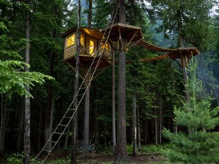 "Ethan Schussler built his first tree house at 12 years old. His today, in Sandpoint, Idaho, sits 30 feet above the ground and is accessed, if not by the rope ladder, an ""elevator"" consisting of a bicycle that, when pedaled, ascends a pulley system to the top."