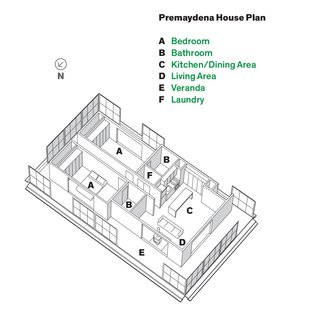 An Off-the-Grid Prefab that Combines Open Plan Living with Rugged Durability - Photo 3 of 10 - Plan of the Premaydena House.