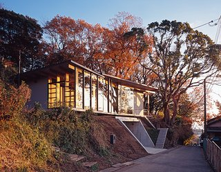 The architects designed the steel-frame doors and windows, which were fabricated by Takeuchi Kozai.