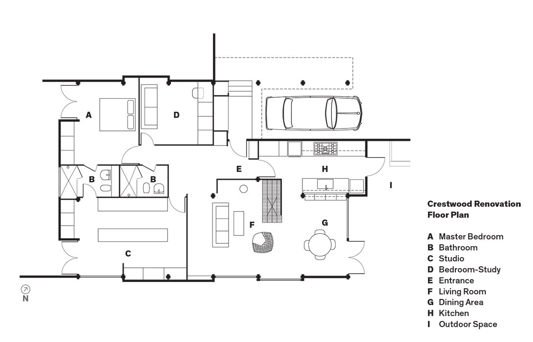 Crestwood Renovation Floor Plan  Photo 15 of 15 in L.A. Renovation Respects Midcentury Bones (While Adding Some Flair)