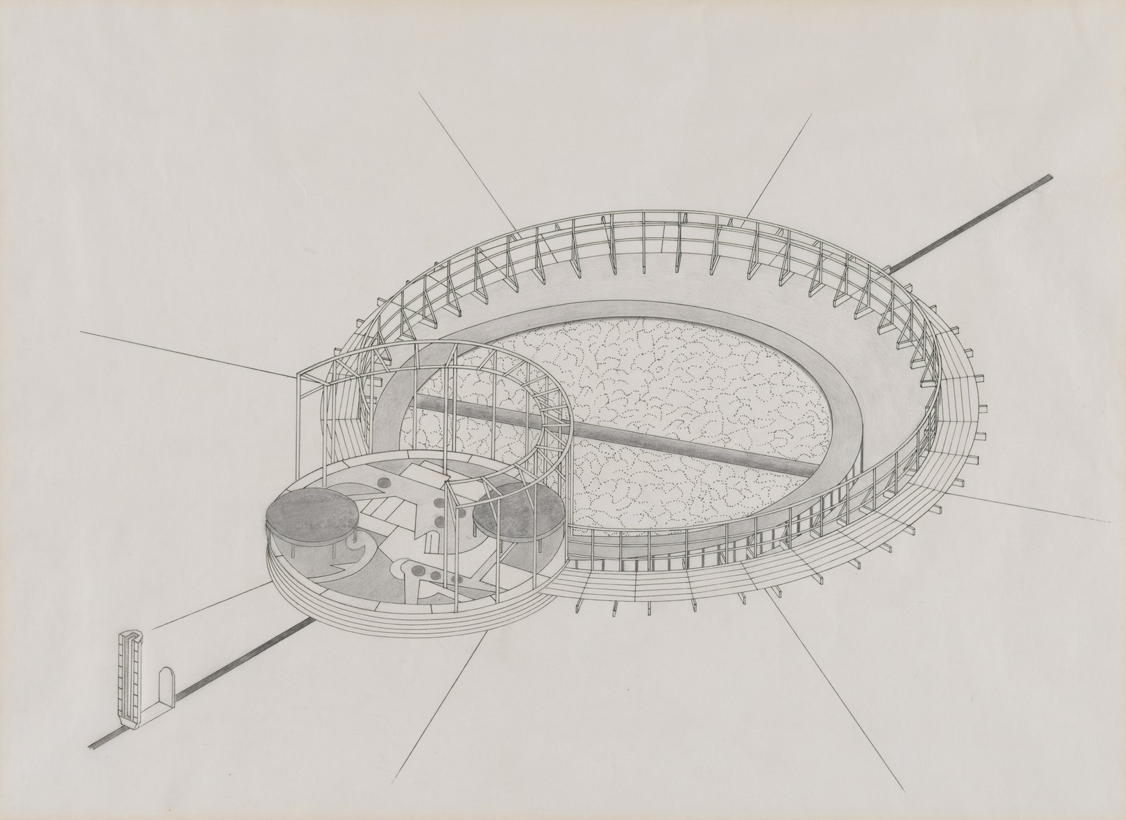 Mary Miss, study for Untitled, Bedford Square, London, 1987. Isometric projection.  Photo 7 of 8 in Early Drawings by Famous Architects