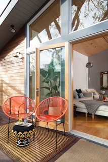 The space is designed for easy indoor/outdoor access.