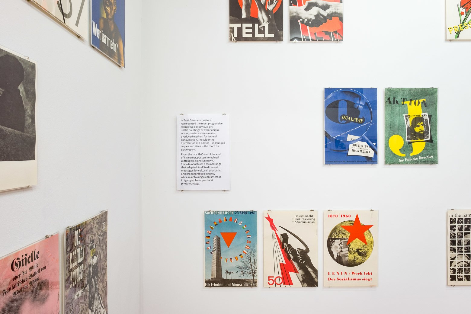 """Krishnamurthy on Wittkugel's poster designs: """"The exhibition includes a tight selection of posters from the 1950s through 1970s, only a small portion of what Klaus Wittkugel designed over his long career. Wittkugel's exhibition designs for his retrospectives in the 1960s and 1970s were often jam-packed with work: walls full of posters, boards featuring exhibition designs, logos, and more. He even went so far as to include a full-scale reproduction of one of his exhibition displays in a later retrospective. I've taken a more sparing approach to installation, but also refer to his strategies through specific conceptual elements: For example, by presenting my curatorial wall text about posters in exactly the same manner as the other posters.""""  Photo 2 of 6 in A Look at Klaus Wittkugel, East Germany's Most Prolific Graphic Designer"""