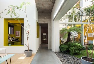 A combination of sliding doors, strategically placed voids, and large indoor plantings create fluid boundaries between indoors and out. The interior courtyard garden—landscaped with tropical plants and volcanic sand—is visually accessible from nearly every room, including the dining and kitchenarea.