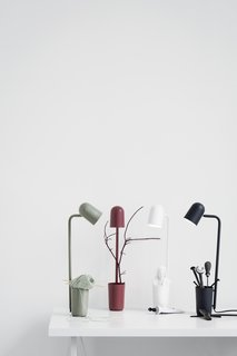 An unassuming little helper is how young Danish designer Mads Sætter-Lassen modestly describes his desk lamp, Buddy, designed for Northern Lighting. The multifunctional design includes a holder to keep pens, keys, and other small objects that are easily lost. The flexible shade, available in five matte colors, can be rotated in any direction.