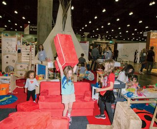 Young attendees put the Modern Family Pavilion to the test.