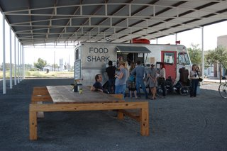 Food Shark, a local mobile eatery, does not disappoint. Starting at noon, there are already a hungry throng queued up and lounging on Donald Judd–designed furnishings.
