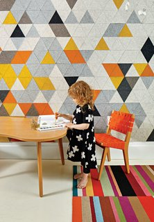 Risom has long graced the pages of Dwell—it's hard to miss his classic modern designs. In this Boston family residence, a custom prototype mural by FilzFelt and a carpet by Flor join a child-size chair and Amoeba table that Risom designed for Knoll.