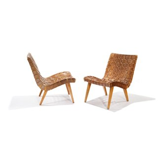 Shortly after his arrival to the United States in 1939, Risom met Hans Knoll, the founder of Knoll, with whom he would work to produce some of the company's earliest interior and furniture designs. Widely known as the first chair to be designed for Knoll, this iconic Risom Lounge Chair brought the natural materials and understated form of Scandinavian design to large-scale U.S. production. It makes use of few materials that were widely available during wartime—surplus army webbing and parachute straps—wrapped around a supple, curving wooden frame.