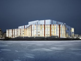 Spira This performing arts center in the city of Joönköping features an undulating glass facade. A pine interior nicely complements the sleek exterior. The building warms the foyer with sunlight and in the summer opens up to a terrace outside.