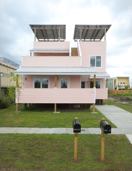 Director's Award: Make It Right  Nonprofit organization Make It Right, founded by Brad Pitt in 2007, received the Director's Award for its focus on building homes and structures for communities in need. All of its projects-including this 1,780-square-foot, LEED Platinum certified home designed by Frank Gehry in New Orleans, in the wake of Hurricane Katrina-are made with an eye towards sustainable practices.