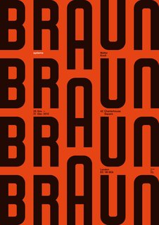 A poster designed for an exhibition of 196t0s Braun products curated by Peter Kapos at the Walter Knoll Showroom in London.