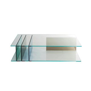 Server cocktail table by Roberto Tapinassi and Maurizio Manzoni for Roche Bobois Green, bronze, and dark blue panels support the two clear panes of this all-glass piece.