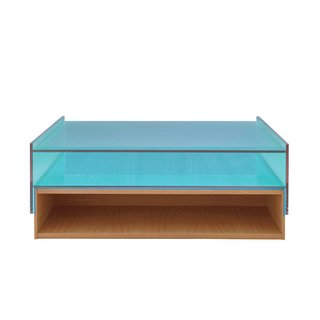 Hampton low table by Eric Jourdan for Ligne Roset Referencing Mies van der Rohe's Farnsworth House, this architectural piece marries cherrywood and laminated glass.