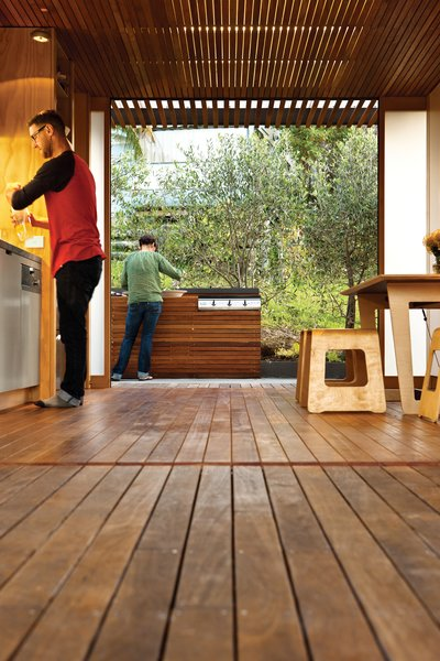 Eucalyptus is used for the kitchen floor and ceiling slats.