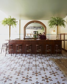 Faust, the hotel's restaurant, hearkens back to 19th-century Bavarian beer hall. The bar, stools, and furniture in the space are by Jessica Carnevale, a RISD-trained designer who's based in Brooklyn.