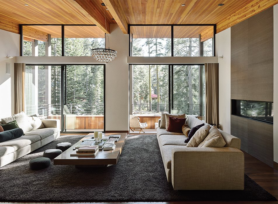 Living Room, Ceiling Lighting, Pendant Lighting, Rug Floor, Coffee Tables, and Sofa  Photo 1 of 11 in The Ski Retreat for All Seasons