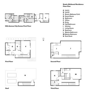 The three units are situated vertically within the structure, each occupying a portion of each floor. All share similar floor plans to Bowie and Malboeuf's residence: flexible space on the first floor, the main living area and kitchen on the second floor, and bedrooms on the third floor. The garage is located beneath the building.