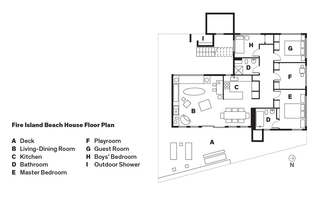 Fire Island Beach House Floor Plan  Photo 9 of 9 in How a Smart Interior Design Saved This House