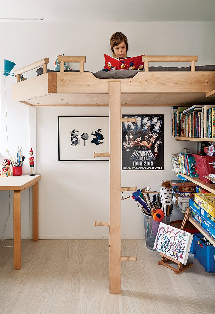 Salminen built the bunk beds out of birch, Finland's most plentiful tree species, for the couple's children.  Photo 9 of 11 in This Home Will Make You Want to Build Your Own Sauna