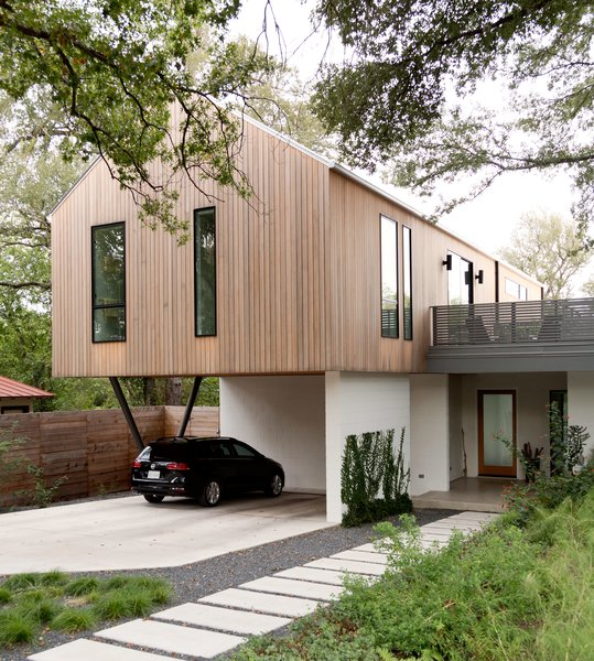 Exterior, House Building Type, Gable RoofLine, and Wood Siding Material  Photo 1 of 6 in Refreshed Take on the Gable Shines in Austin's Building Boom