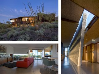This residence by Will Bruder Architects echoes its surroundings with a series of abstract, canyon-like walls and spaces that emerge as metaphoric geological gestures. Its purple-and-black patinaed copper and acid-etched metal-clad frame walls complement the undisturbed Sonoran Desert.