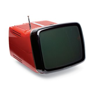 Algol 11 Television  Unlike prior TVs, this bright plastic model from 1964, equipped with a collapsible metal handle, didn't feature a wooden frame. Marco Zanuso and Richard Sapper developed it for Brionvega, relying on miniaturized circuitry to achieve its compact size.