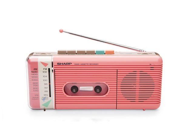 QT-50 Cassette Recorder This portable tape player and recorder by William Lansing Plum for Sharp, released in 1985, also played AM/FM radio. The colorful pastel shell and control buttons nodded to an emerging—and enduring—trend: electronics as personal fashion accessory.
