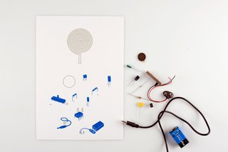 All the components of the paper speaker.