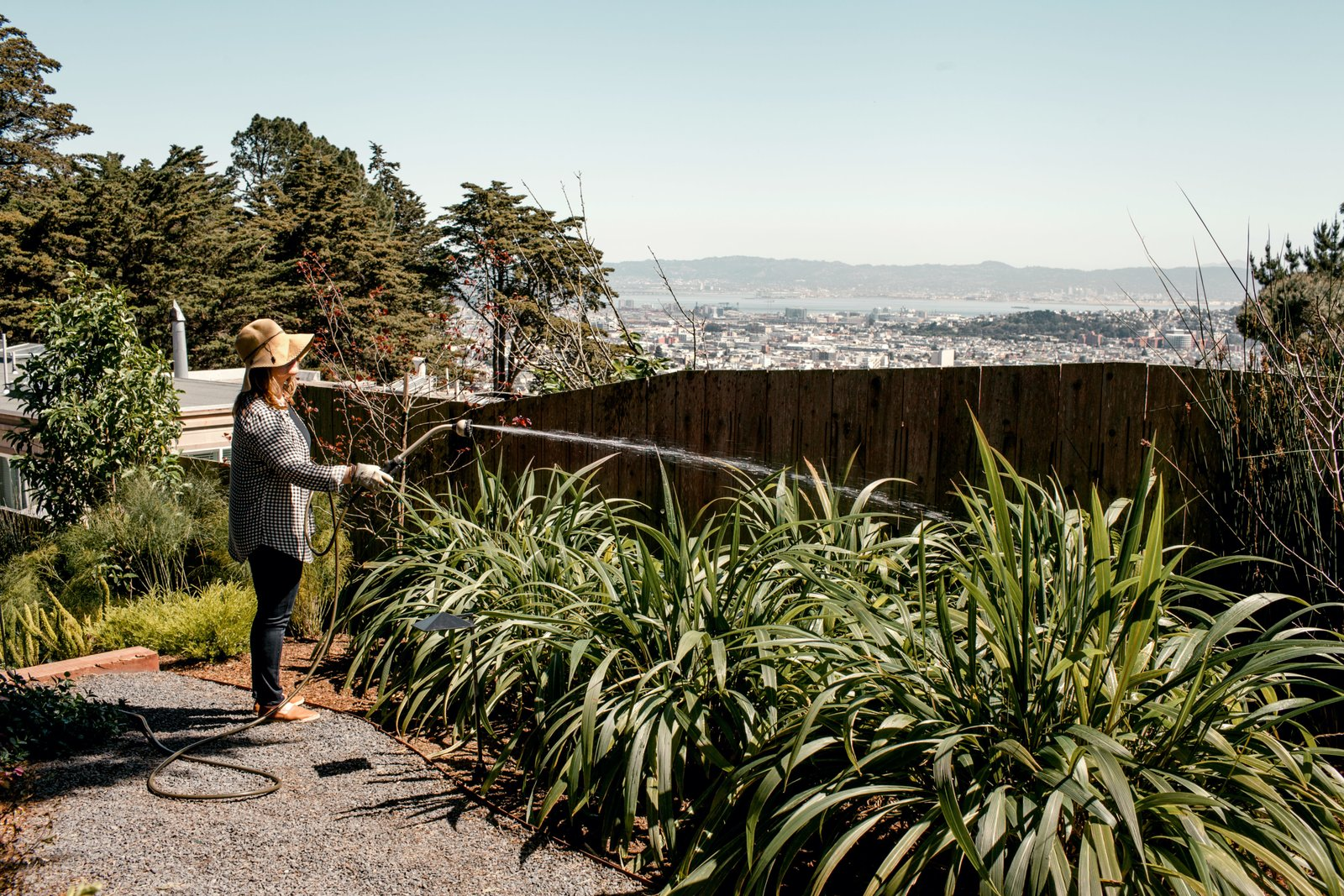 """Outdoor, Side Yard, Back Yard, Front Yard, Trees, Hardscapes, Gardens, Garden, Shrubs, Wood Fences, Wall, and Vertical Fences, Wall The couple source ideas for their garden from their trips to Japan.  Photo 10 of 12 in Two Silicon Valley Vets Master the Smart Home Without Going Full """"Jetsons"""""""