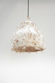 Jonas Edvard's MYX lamp is made from plant fiber and fungus grown over the course of two to three weeks.