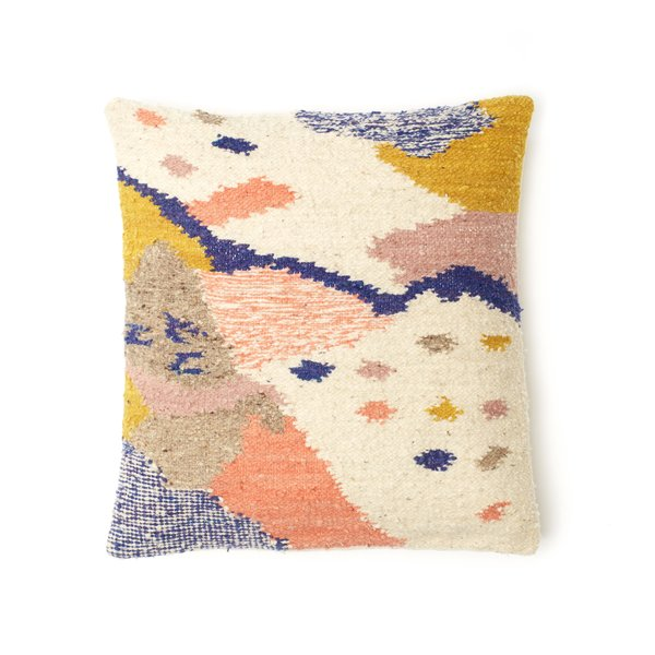Inspired by landscapes, the Cartographer pillow features organic patterns and shapes handwoven by artisans in Totonicapan, Guatemala.