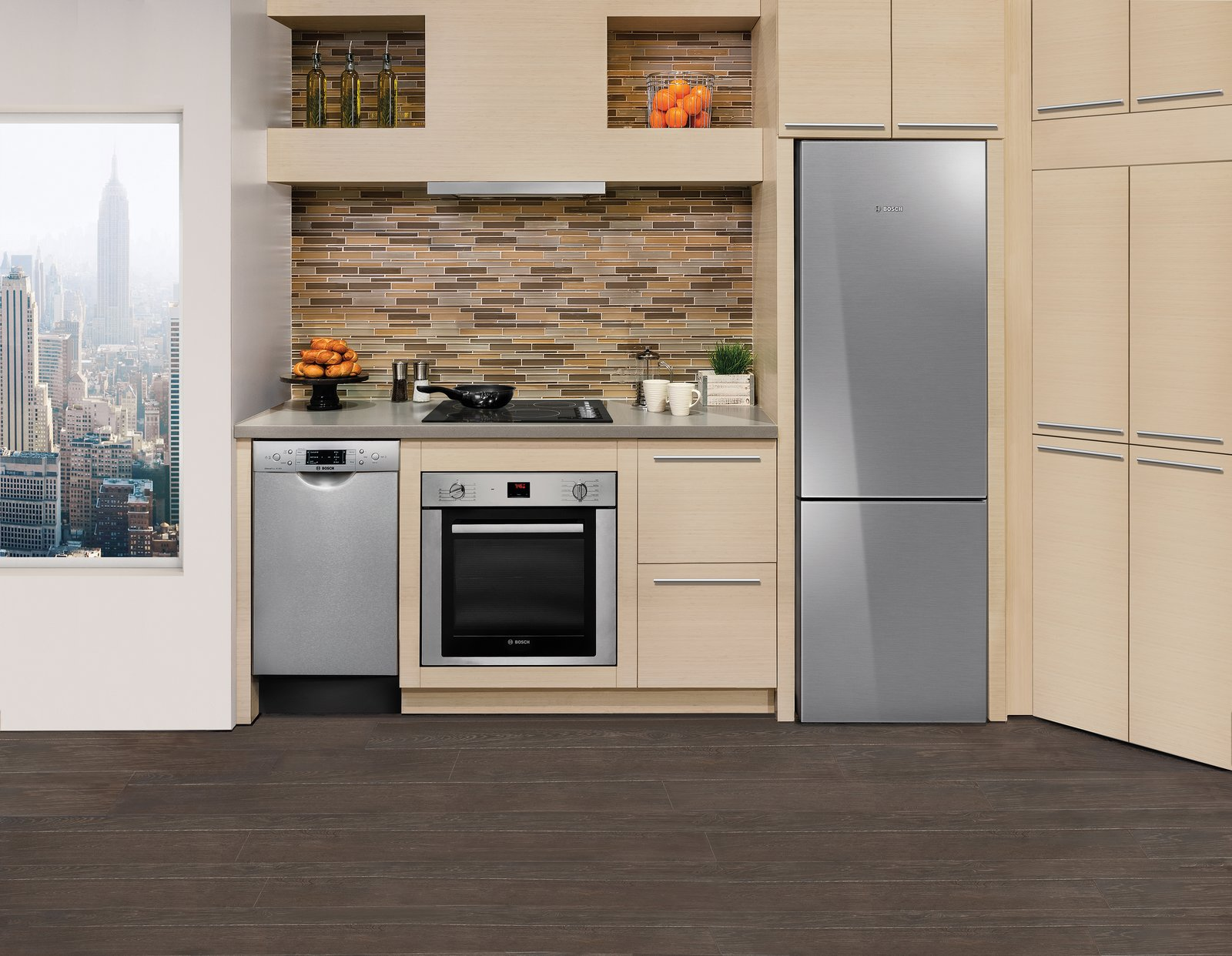 Bosch's compact kitchen line, which includes an electric and gas cooktop, wall oven, and refrigerator, as well as an 18  Photo 4 of 7 in Bosch's Streamlined Kitchen and Laundry Appliances Are Made for Small Spaces