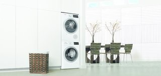 "Joining the kitchen line, Bosch recently unveiled an efficient 24"" laundry pair. The units can be stacked vertically, further reducing their footprint in the home."