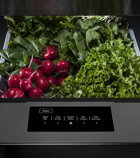 KitchenAid refrigerators feature a temperature-controlled drawer with five preset settings specialized for vegetables, meat, drinks, and more.