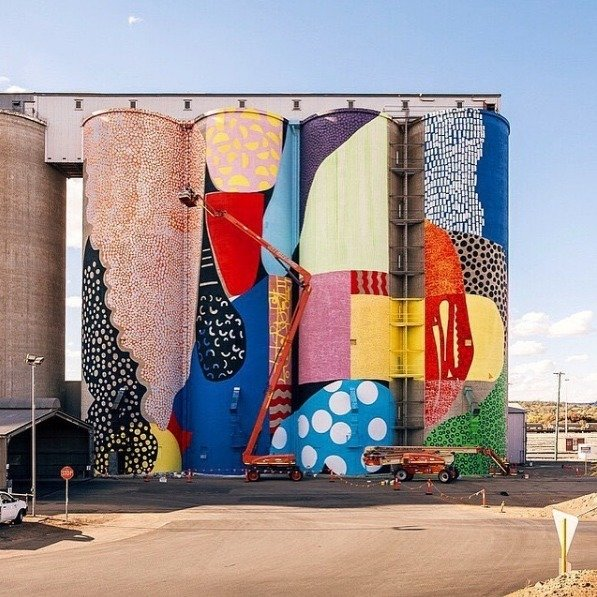 """Atlanta-based public artist, Alex Brewer (a.k.a. Hense), utilizes grain silos in Northam Western Australia for his newest installation."""