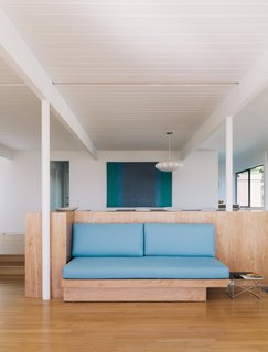 Set high in Crestwood Hills, Richard Neutra's 1956 Adler House underwent a faithful restoration by Tyler and Margaret Lemkin. Using archival photos by Julius Shulman as a guide, they set out to refresh as many original details as possible, such as a built-in bench.