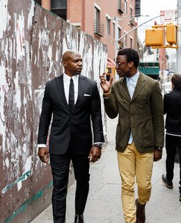 Actor Terry Crews, left, and designer Ini Archibong have a longstanding friendship based on shared ideals. In April 2016 they worked together to debut In The Secret Garden, a collection of furnishings conceived by Archibong, at the Milan furniture fair, a respected launching ground for burgeoning design industry players.
