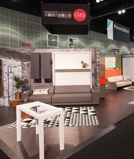 Resource Furniture, a pioneer in bringing small-space solutions to the American market, showcased pivoting pieces and other design-forward products.