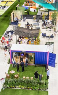 Rows of booths and hangouts presented attendees with points of discovery in the Dwell Outdoor section, which measured more than 30,000 square feet.
