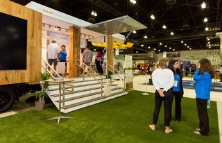 The Silicon Valley firm SunPower set up a walk-in experience to educate visitors about their sleek photovoltaic panels.
