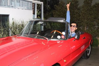 Attendees were invited to pose for their very own Dwell photograph, including inside a 1966 Alfa Romeo Duetto Spider.