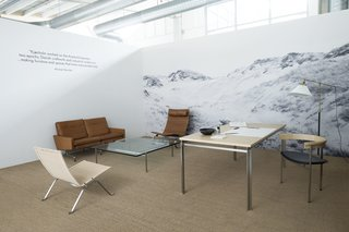 Although steel is prevalent in many of Kjærholm's design, he was inspired by nature throughout his life. Natural materials such as wicker and leather were chosen for their ability to age over time. Featured in Fritz Hansen's headquarters in Copenhagen, a section dedicated to the designer includes other pieces from the collection.