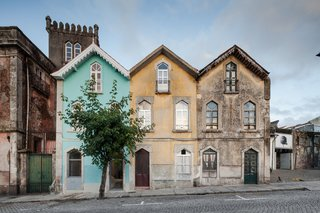 The restored exterior of a renovated home in Braga, Portugal.