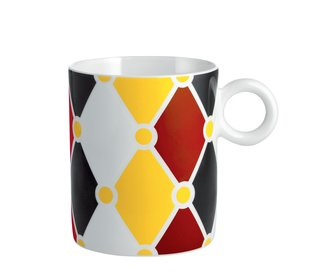 Diamonds, stripes, and polka dots embellish the collection of mugs in the collection.